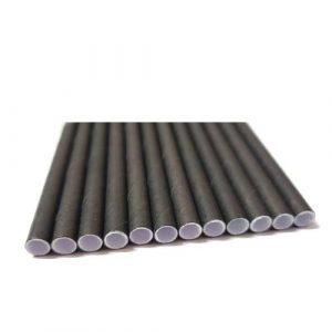 Palhinhas de papel pretas c/ individual