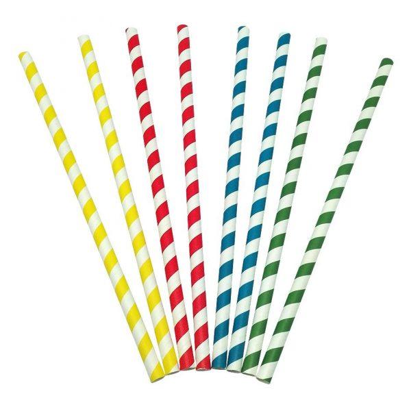500 Palhinhas de papel retas coloridas 8x230mm