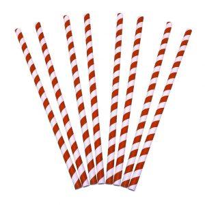 Palhinhas de papel Vermelhas retas 8x230mm